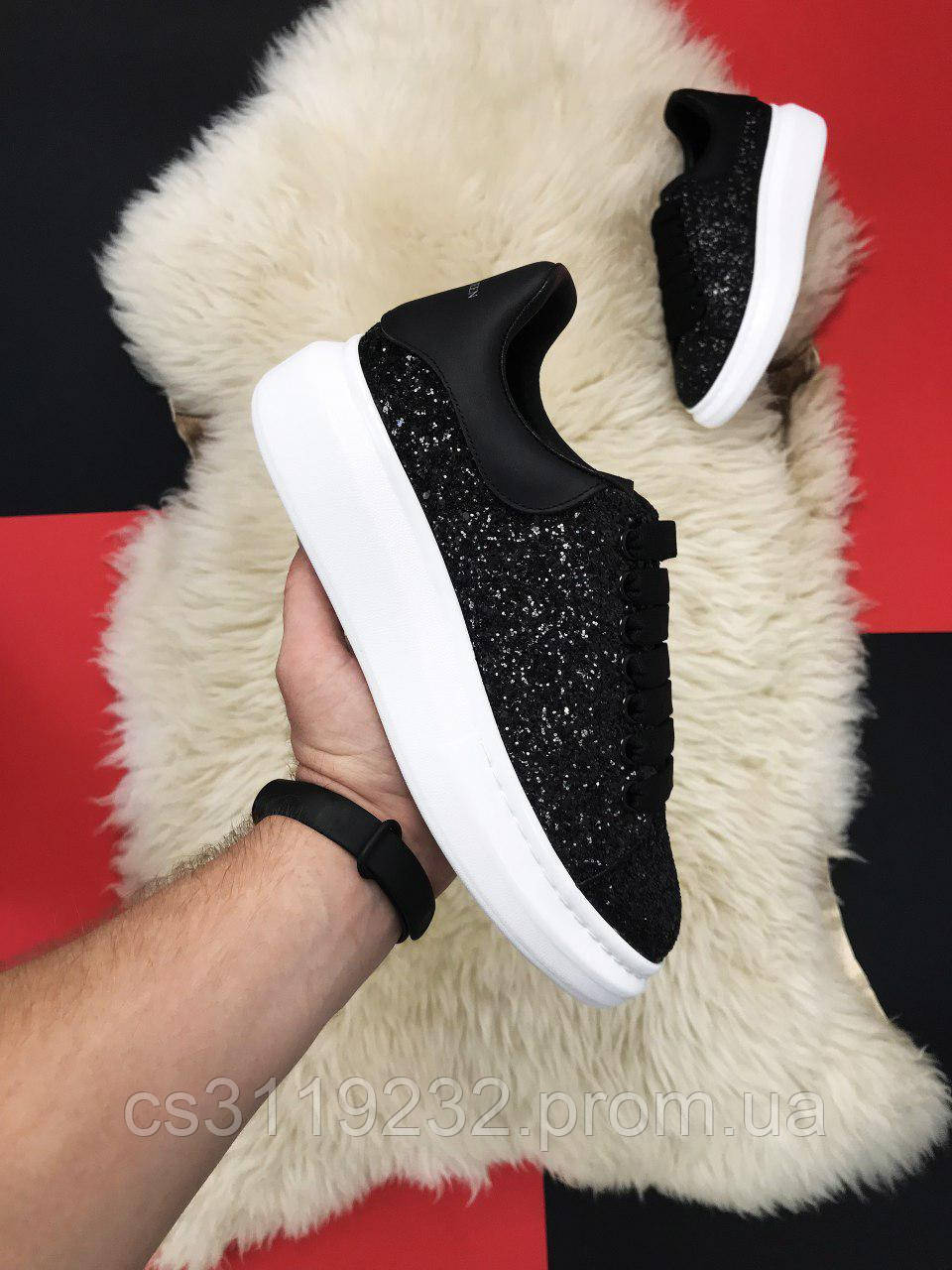 Женские кроссовки Alexander McQueen Swarovski Premiumd (черные)