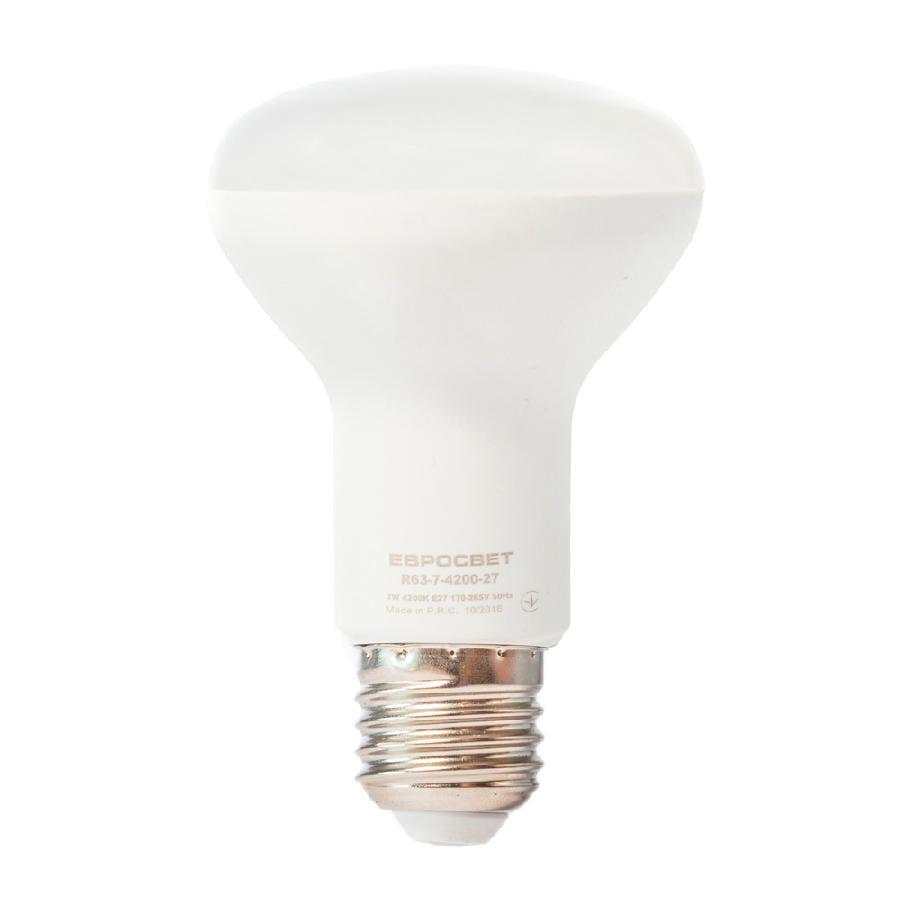 Лампа светодиодная ЕВРОСВЕТ 7Вт 4200К R63-7-4200-27 E27