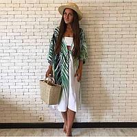 Накидка пляжная длинная белая с растительным узором бохо-кимоно -146-59