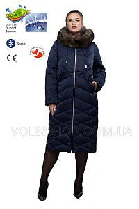 Пуховик мех песец, женский большого размера (46-56) зима 2019/20 М-763