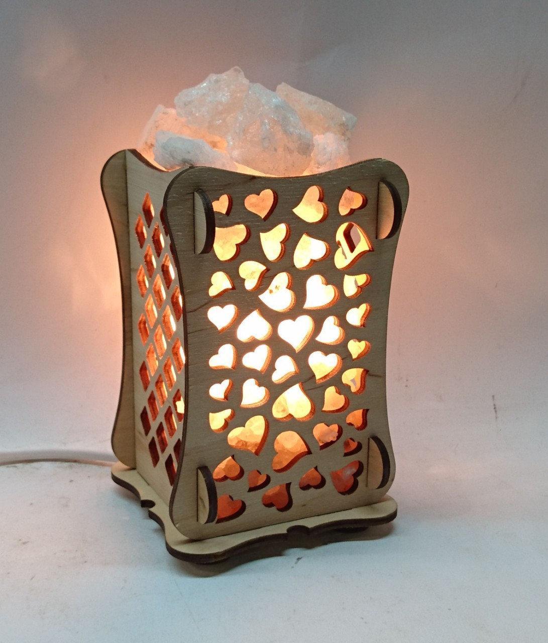 Соляной светильник Деревянный камин Сердца