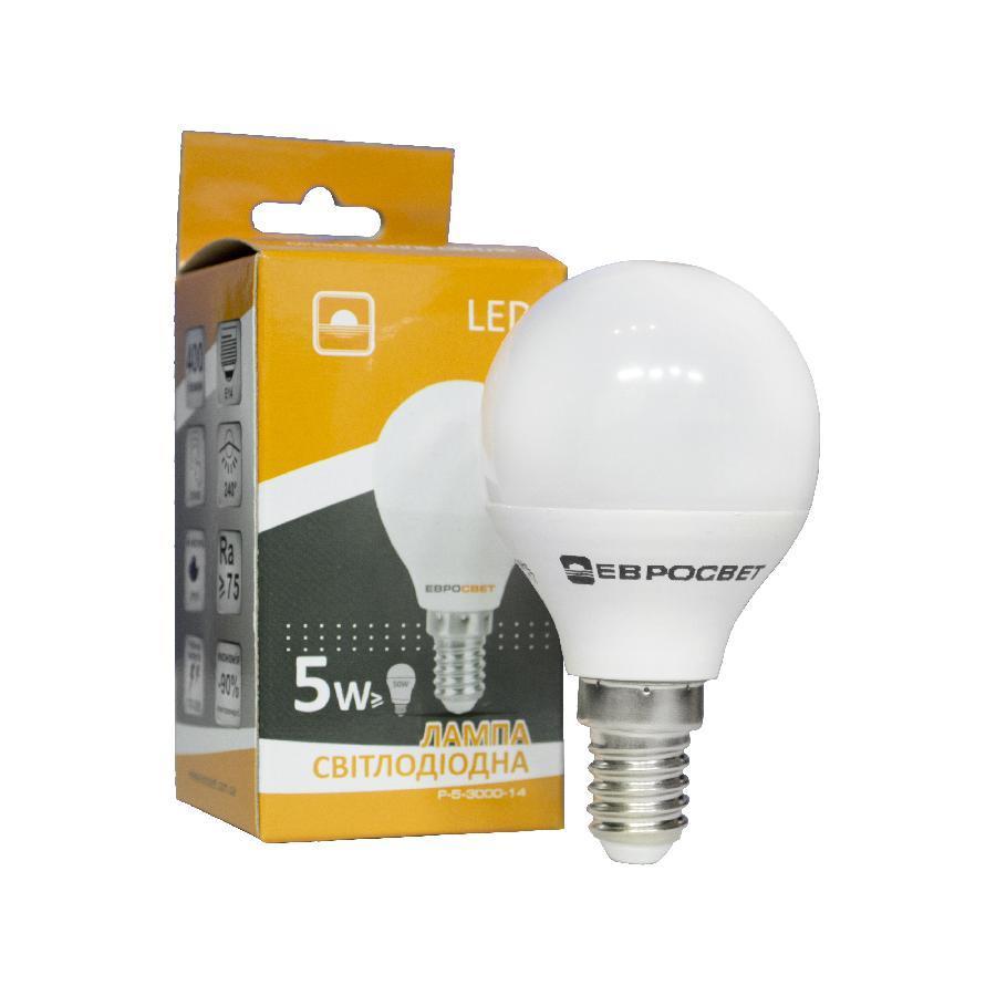 Лампа светодиодная ЕВРОСВЕТ 5Вт 3000К Р-5-3000-14 E14