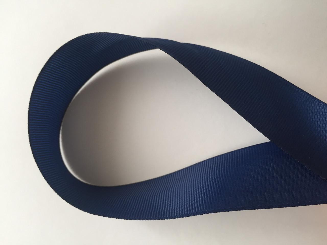 Лента репсова 2.5 см  23 м т.синий