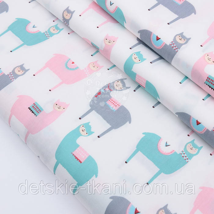 """Сатин ткань """"Весёлые ламы"""" розовые, серые, мятные на белом №2502с"""