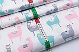 """Сатин ткань """"Весёлые ламы"""" розовые, серые, мятные на белом №2502с, фото 3"""