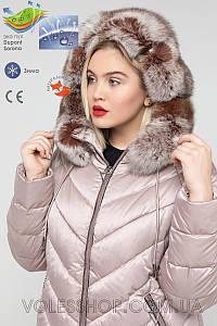 Пуховик женский, финская лиса, большие размеры (48 50 54 60)  774 Зима 2019/20