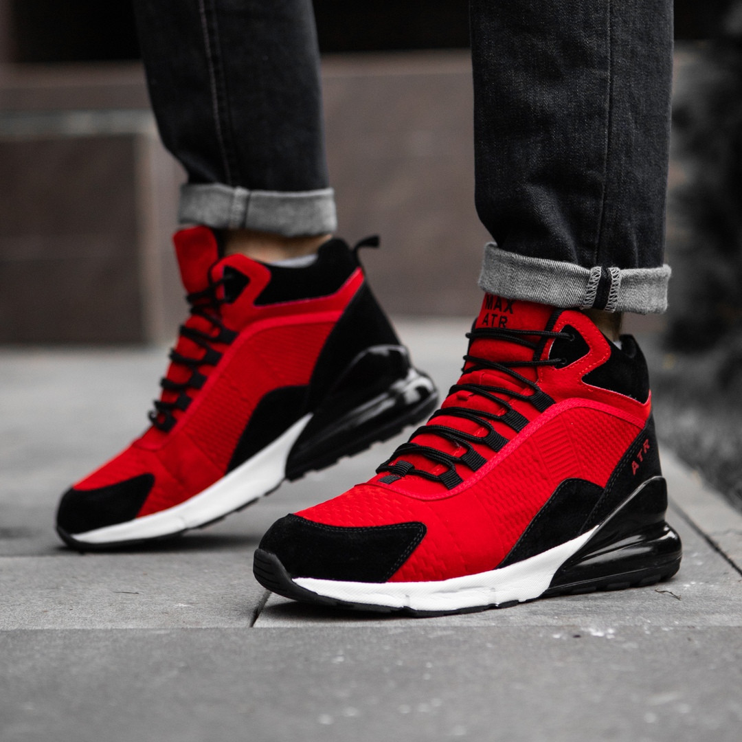 Чоловічі черевики кросівки зимові червоні