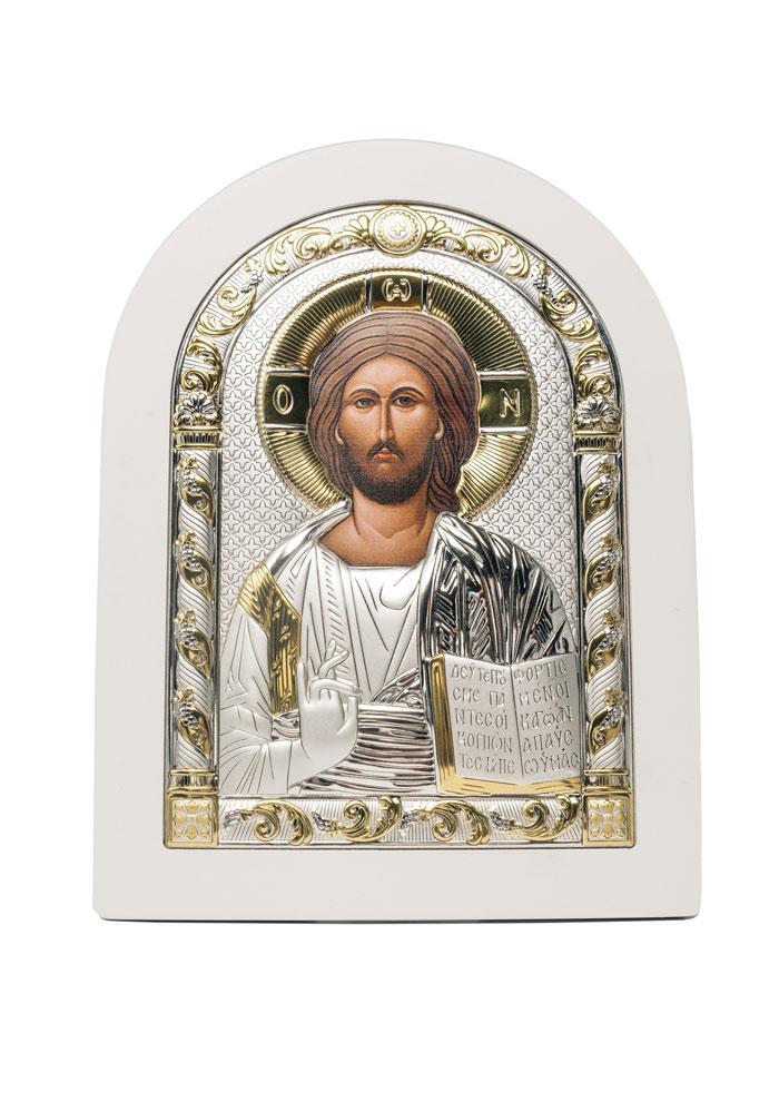 Икона Спаситель Серебряная с позолотой в белом цвете AGIO SILVER (Греция)  150 х 200 мм