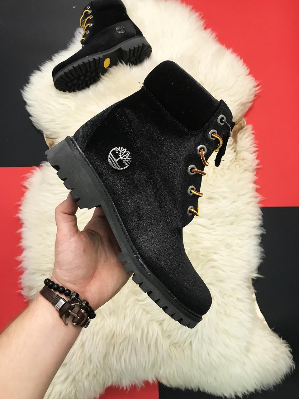 Женские ботинки Timberland Black Velvet x Off White, Реплика