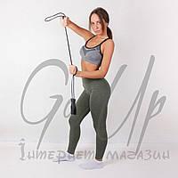 Женские спортивные лосины, тайтсы с высокой талией, леггинсы, одежда, для фитнеса, спорта, йоги, бега Хаки, Размер (S)
