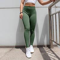 Женские спортивные лосины, тайтсы с высокой талией, леггинсы, одежда, для фитнеса, спорта, йоги, бега Зеленый, Размер (S)