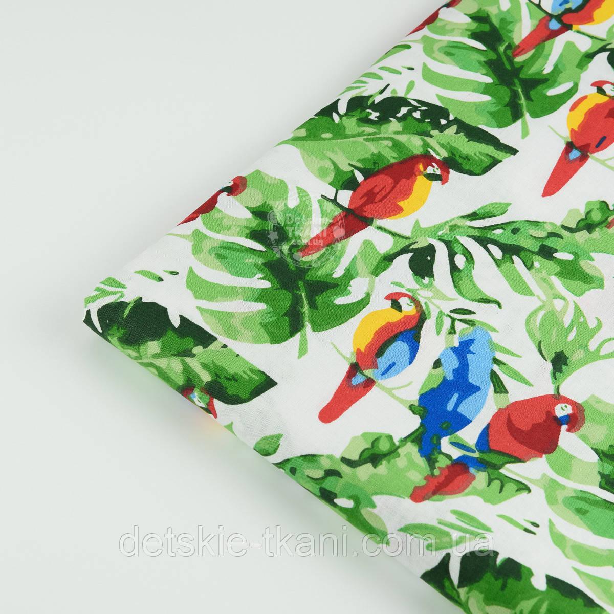 """Лоскут ткани """"Попугаи на ветке"""" №1400, размер 31*78 см"""