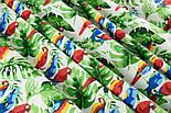 """Лоскут ткани """"Попугаи на ветке"""" №1400, размер 31*78 см, фото 2"""