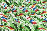 """Лоскут ткани """"Попугаи на ветке"""" №1400, размер 31*78 см, фото 3"""