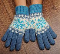 Шерстяные перчатки, перчатки из ангорки, перчатки с снежинками, фото 1