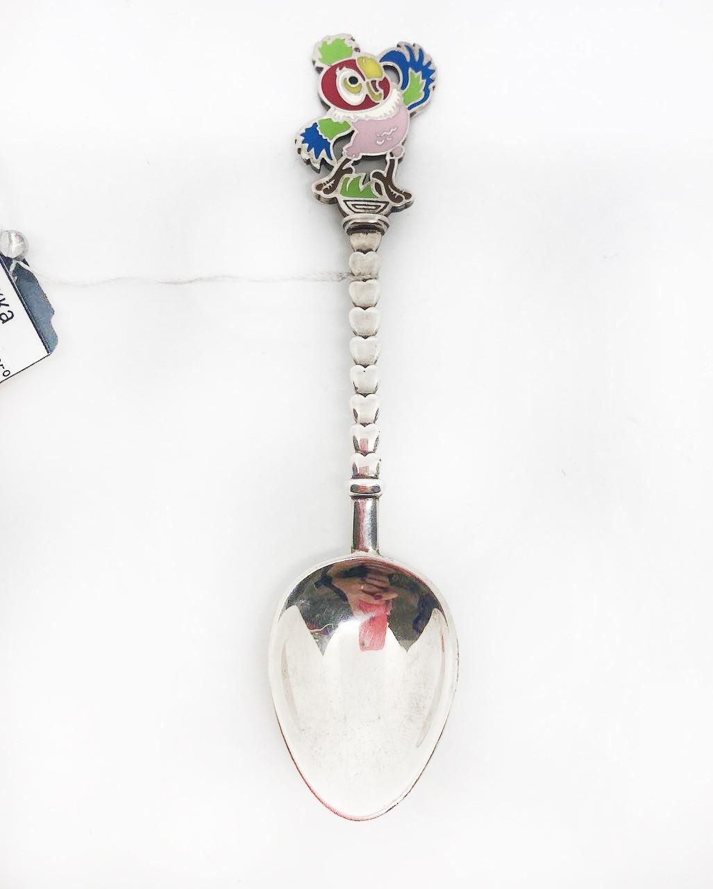 Серебряная ложка чайная Брюс с попугаем