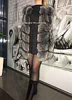Меховая шуба, жилетка Ника из искусственного эко - меха чернобурки XL, XXL, 3XL, 4XL, фото 1
