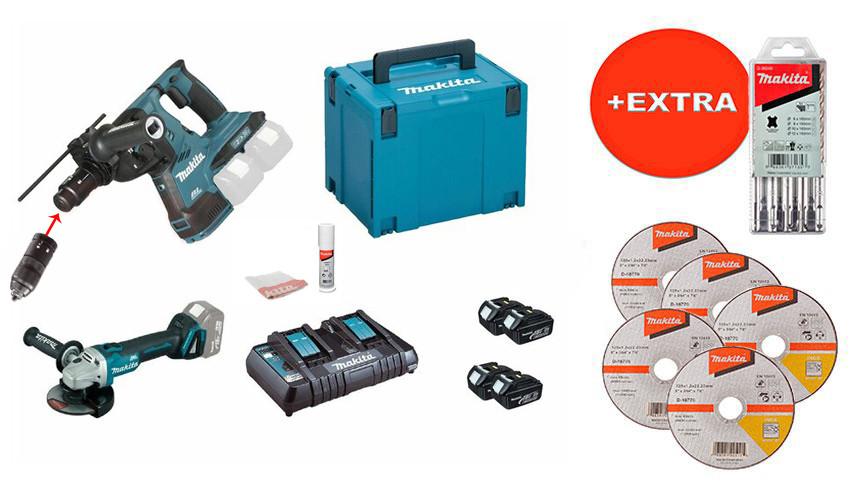 Набор инструментов Makita DLXMUA281 + 4 акб 18 V 3 Ah +двухпортовое з/у + MakPac 4 + 5 дисков + 5 буров