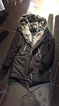 Парку чоловіча зимова Open чорного кольору на хутрі, фото 2