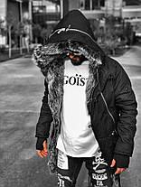 Парку чоловіча зимова Open чорного кольору на хутрі, фото 3