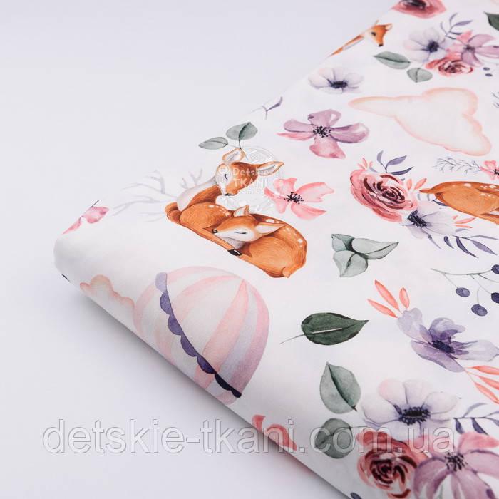 """Лоскут ткани с цифровой печатью """"Косули и воздушные шары"""" на белом №2285, размер 28*80 см"""