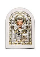 Николай Угодник Икона  AGIO SILVER (Греция) Серебряная с позолотой в белом цвете 150 х 200 мм, фото 1
