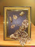 """Картина из натуральной кожи ручной работы  """"Розы Золото Ковка"""""""