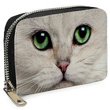 Кошелёк на замке MINI (текстиль) Белая кошка, глаза (MKSH_16S005_BL)