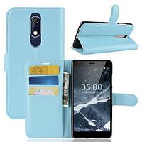 Чехол Luxury для Nokia 5.1 / 5 2018 книжка голубой