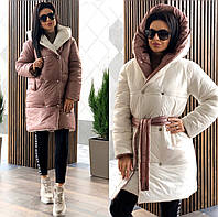 Женская зимняя двухсторонняя куртка - плащёвка на 300ом силиконе (очень тёплая)