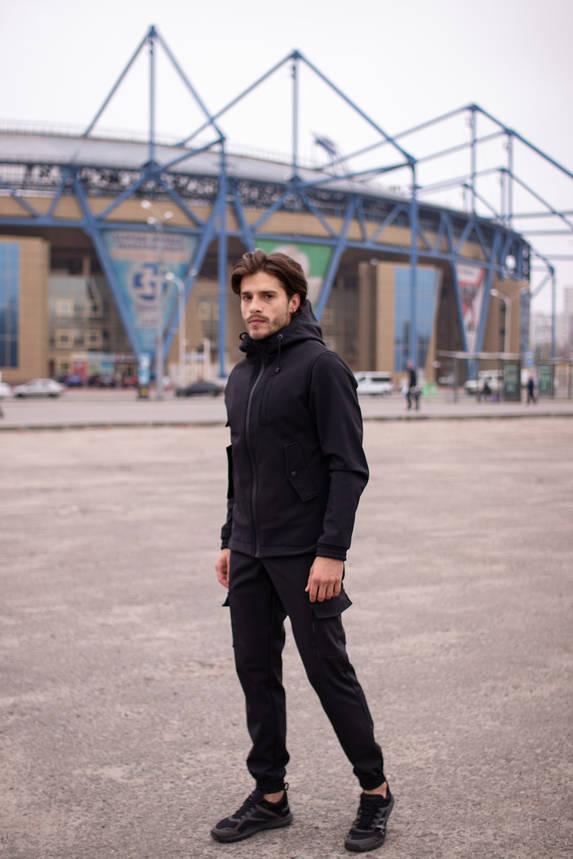 Мужской костюм черный демисезонный Intruder. Куртка мужская черная, штаны утепленные. Бафф в подарок, фото 2