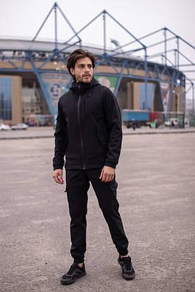 Мужской костюм черный демисезонный Intruder. Куртка мужская черная, штаны утепленные. Бафф в подарок, фото 3