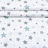 """Лоскут ткани """"Звёзды со звёздами внутри"""" серо-графитовые на белом №2043, фото 2"""