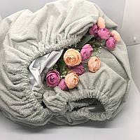Непромокаюча простинь-наматрасник на резинці колір сірий, 60х120 см.