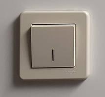 Выключатель проходной с подсветкой Кремовый Leona Schneider Electric, LNA1500323