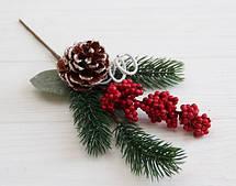 """Букет новогодний   """" 4 """"  с шишкой и красными ягодками  ,  1 шт"""