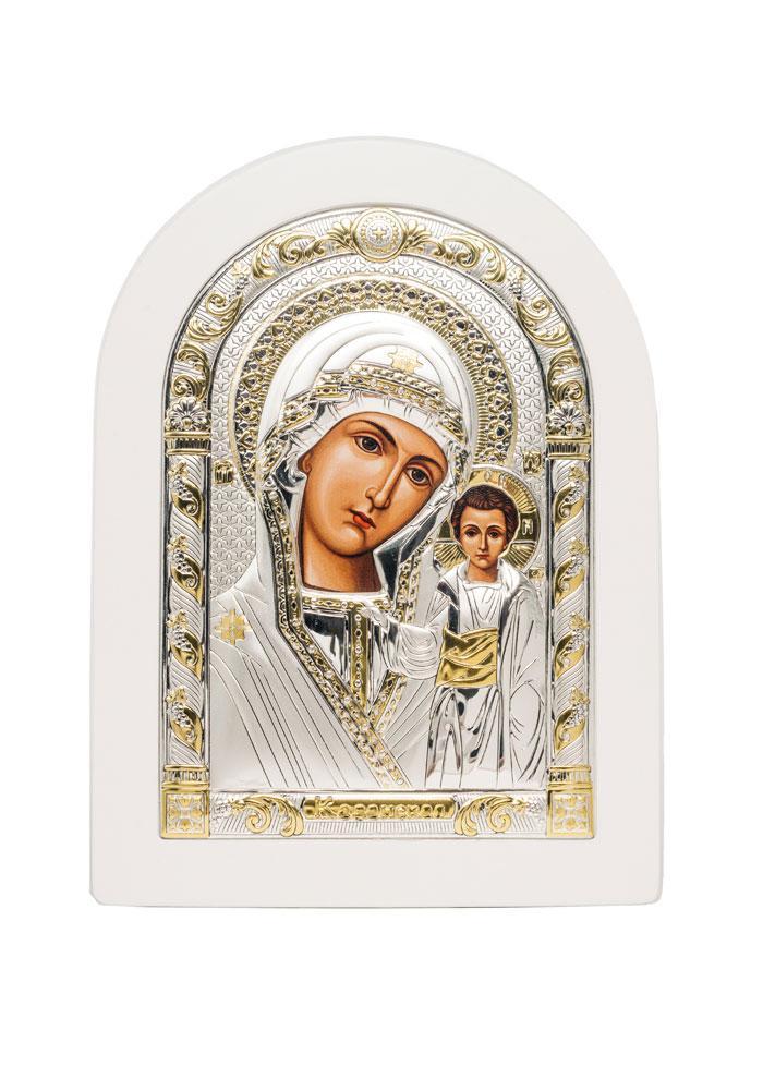 Казанская Икона Божией Матери Серебряная с позолотой в белом цвете AGIO SILVER (Греция)  150 х 200 мм