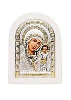 Казанская Икона Божией Матери Серебряная с позолотой в белом цвете AGIO SILVER (Греция)  150 х 200 мм, фото 1
