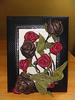 """Картина из натуральной кожи ручной работы  """" Розы на полотне"""""""