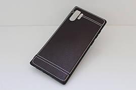 Чехол Litchi для Samsung Galaxy Note 10 Plus (N975) силикон бампер с рифленой текстурой черный