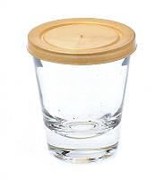 Банка стеклянная Everglass 50 мл.с желто- золотой  пластиковой крышкой для пищевых и косметических продуктов