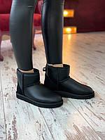 Угги женские UGG Classic Mini Bailey Bow II black. Натуральная замша. ТОП КАЧЕСТВО!!!  Реплика