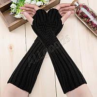 Митенки длинные перчатки без пальцев теплые (MitWarm2) Черные
