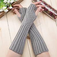 Митенки длинные перчатки без пальцев теплые (MitWarm2)  Серые