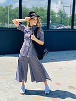 ANDRE TAN Дизайнерский костюм для лета. Блуза + юбка(кюлоты)  женские голубого цвета: XS, S,