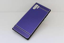 Чехол Litchi для Samsung Galaxy Note 10 Plus (N975) силикон бампер с рифленой текстурой синий