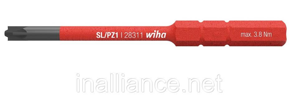 """Бита SL/PZ1 SoftFinish electric slimBit для зажимных винтов """"плюс"""" и """"минус"""" (шлиц/PZ) Wiha 34589"""