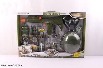 Військовий дитячий набір зброї 34340 (12шт) з каскою і маскою муз., світ., в кор. 59*12*40 см