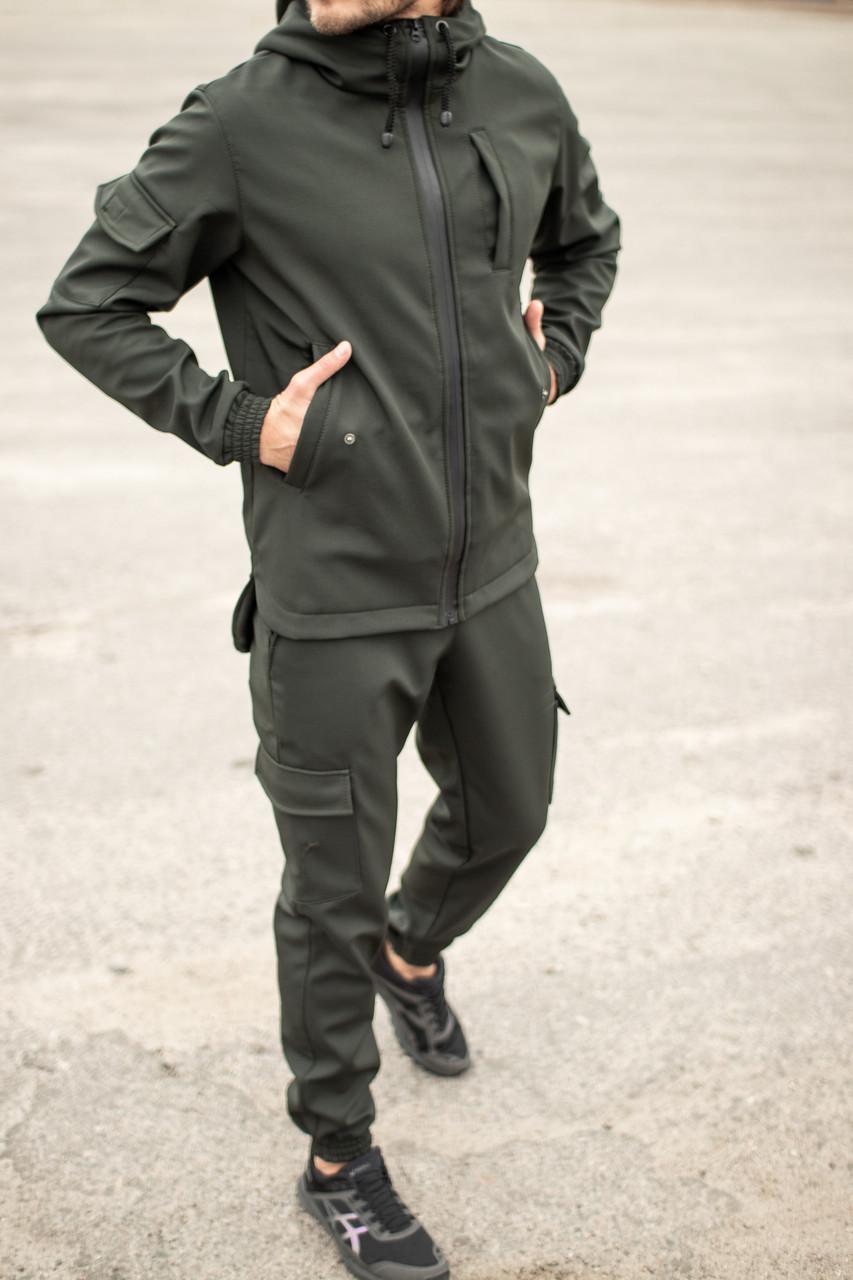 Мужской костюм хаки демисезонный Intruder. Куртка мужская хаки, штаны утепленные. Бафф в подарок