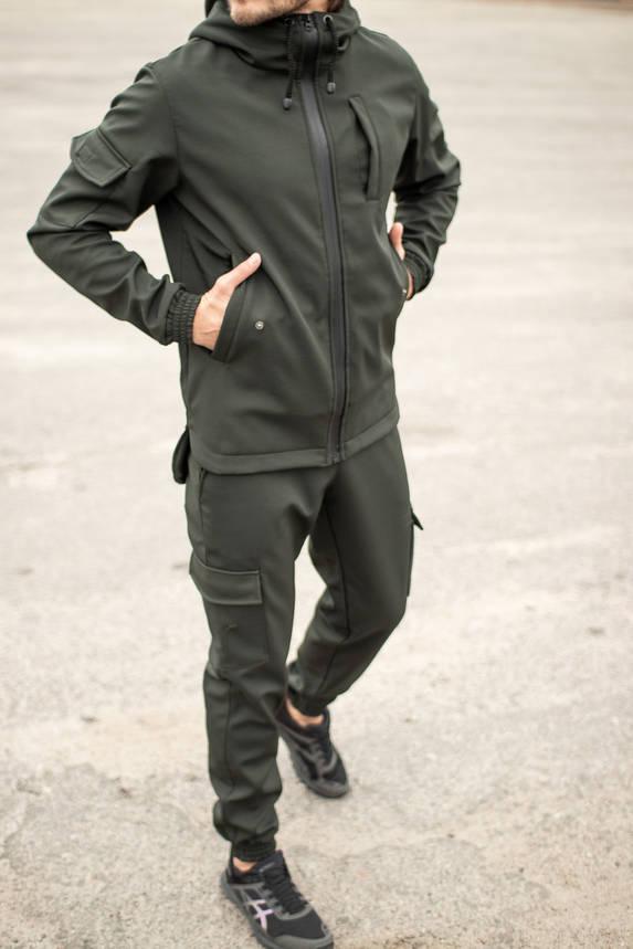 Мужской костюм хаки демисезонный Intruder. Куртка мужская хаки, штаны утепленные. Бафф в подарок, фото 2